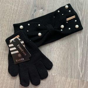 NWT BEBE Pearl Stud Head Wrap & Knit Glove Set